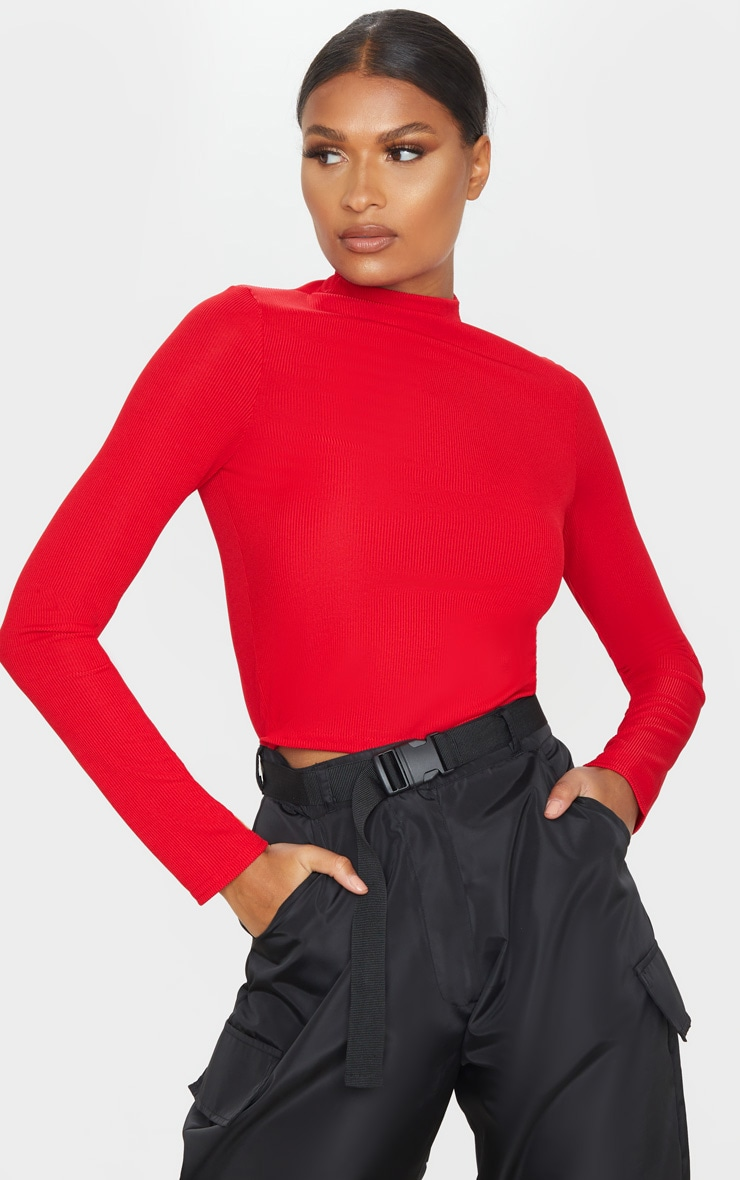 Red Rib Funnel Neck Top 1