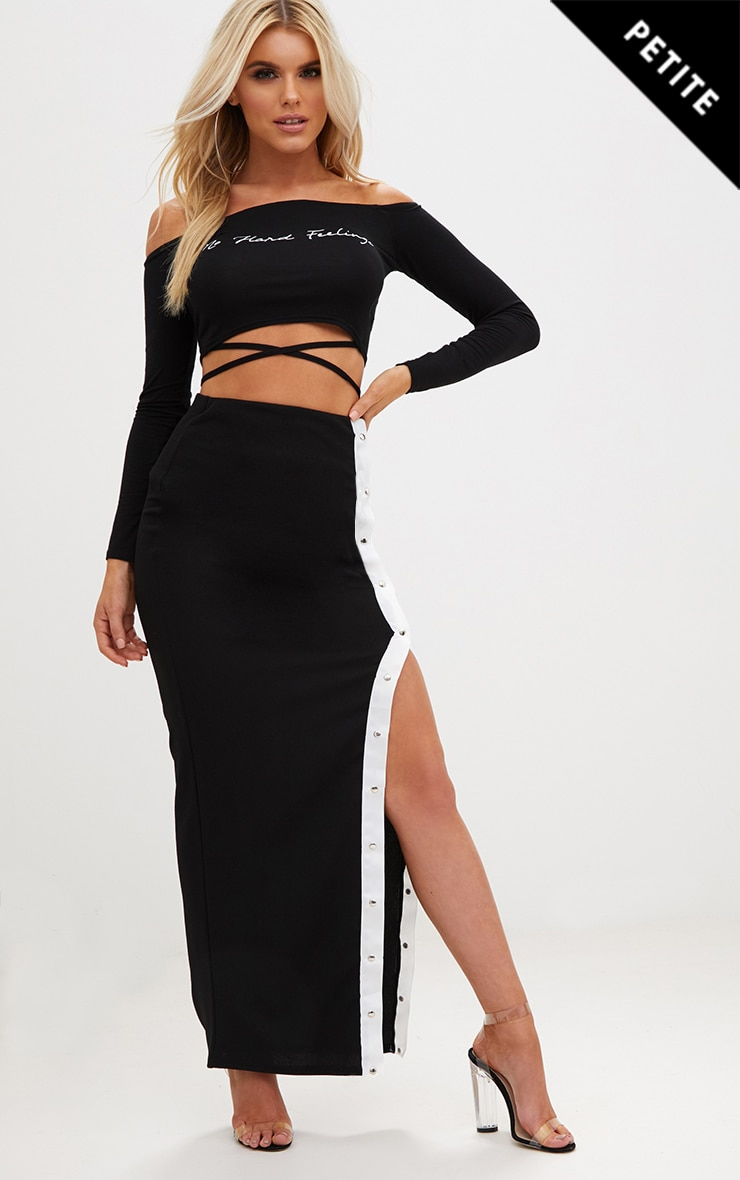 Petite Black No Hard Feelings Wrap Crop Top 1