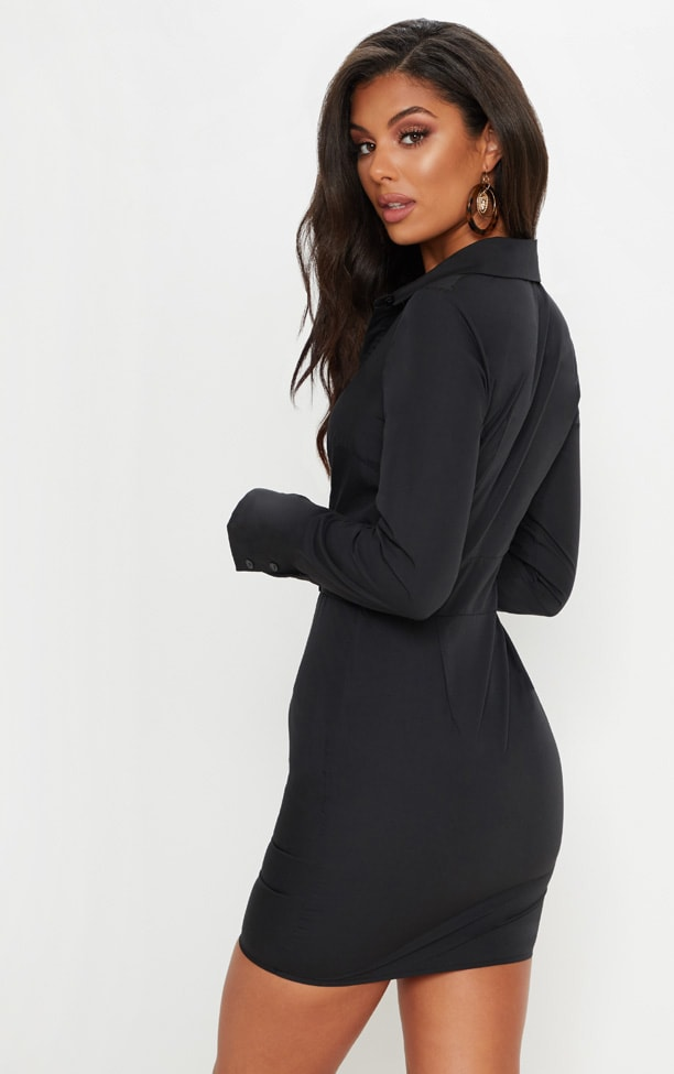 Black Plunge Ruched Tortoise Belted Bodycon Shirt Dress 2