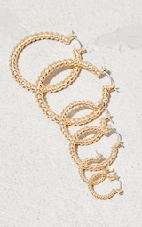 Gold 3 Pack Assorted Ribbed Hoop Earrings 3