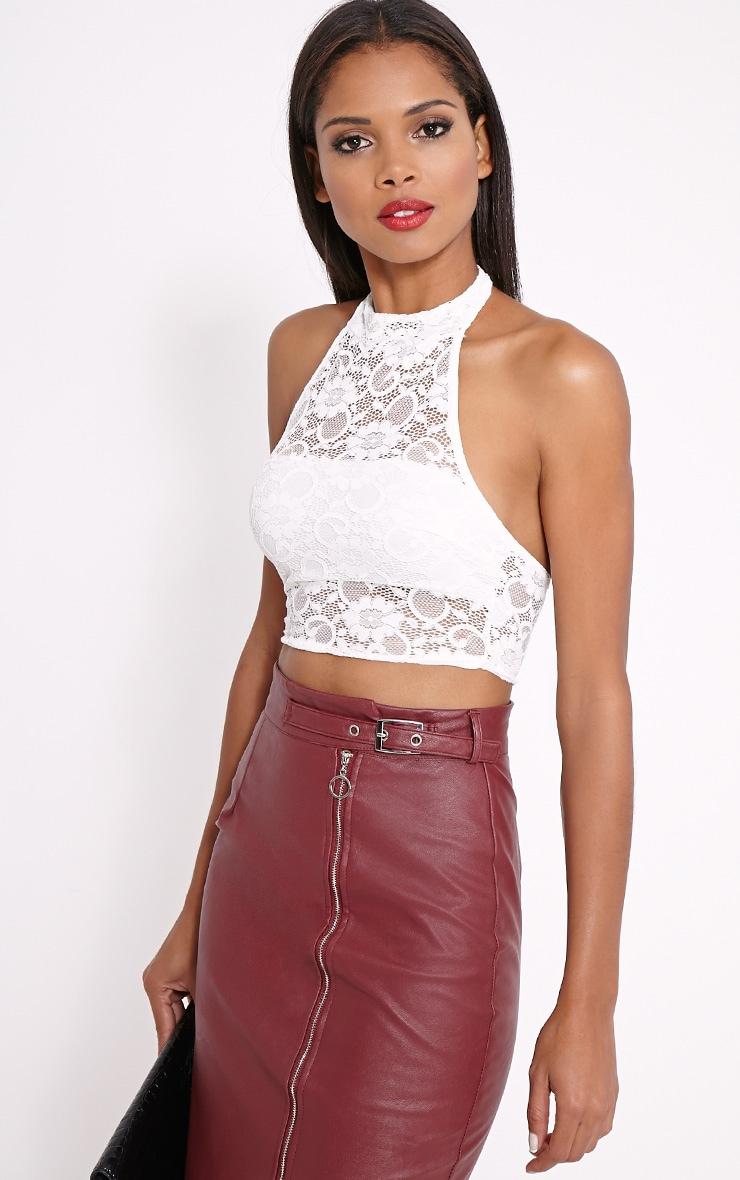 Liana Cream Lace Halterneck Crop Top 4