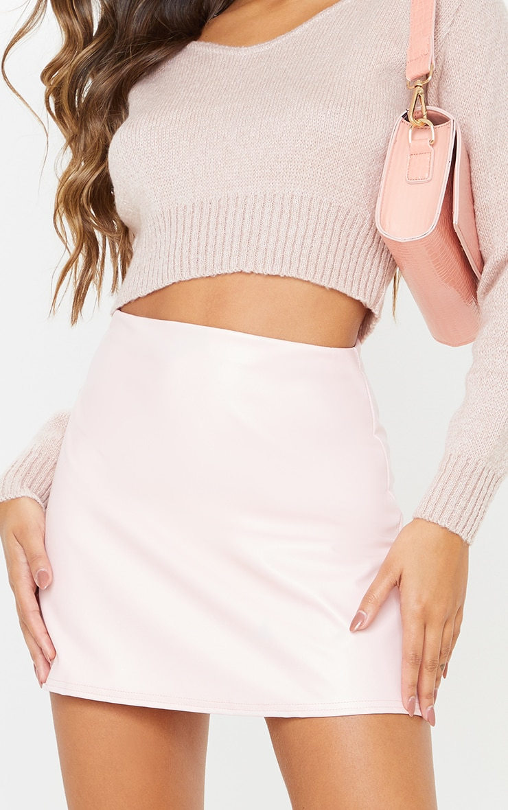 Rose Pink Faux Leather A Line Skirt 6