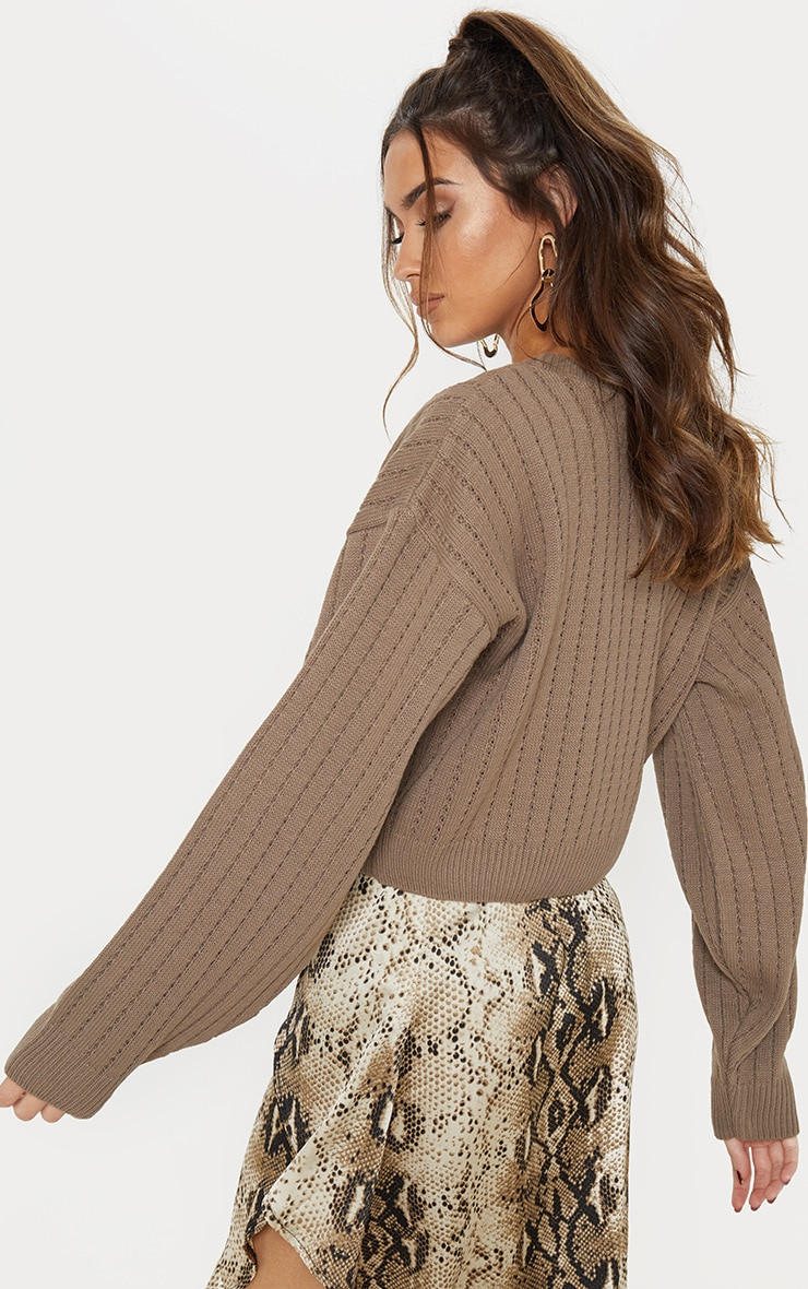 Taupe Ribbed Balloon Sleeve Cropped Jumper  2