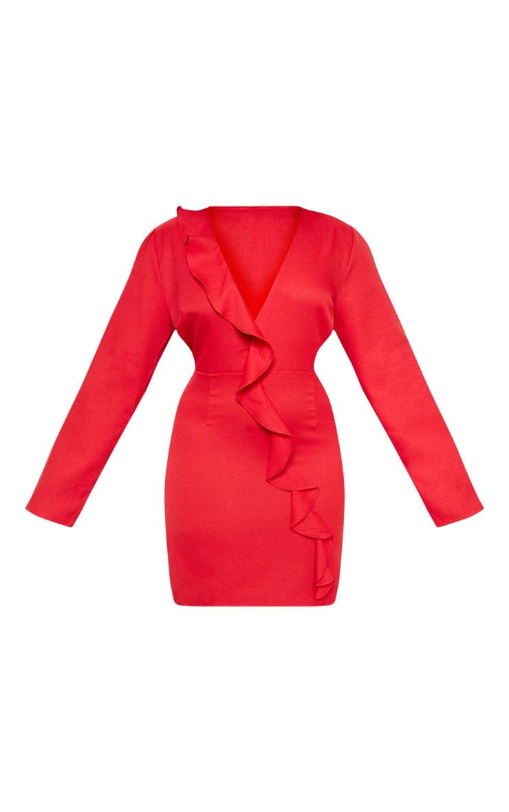 Plus Red Drape Front Tea Dress  3