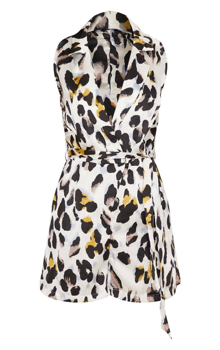 White Satin Leopard Print Collar Detail Sleeveless Playsuit 3