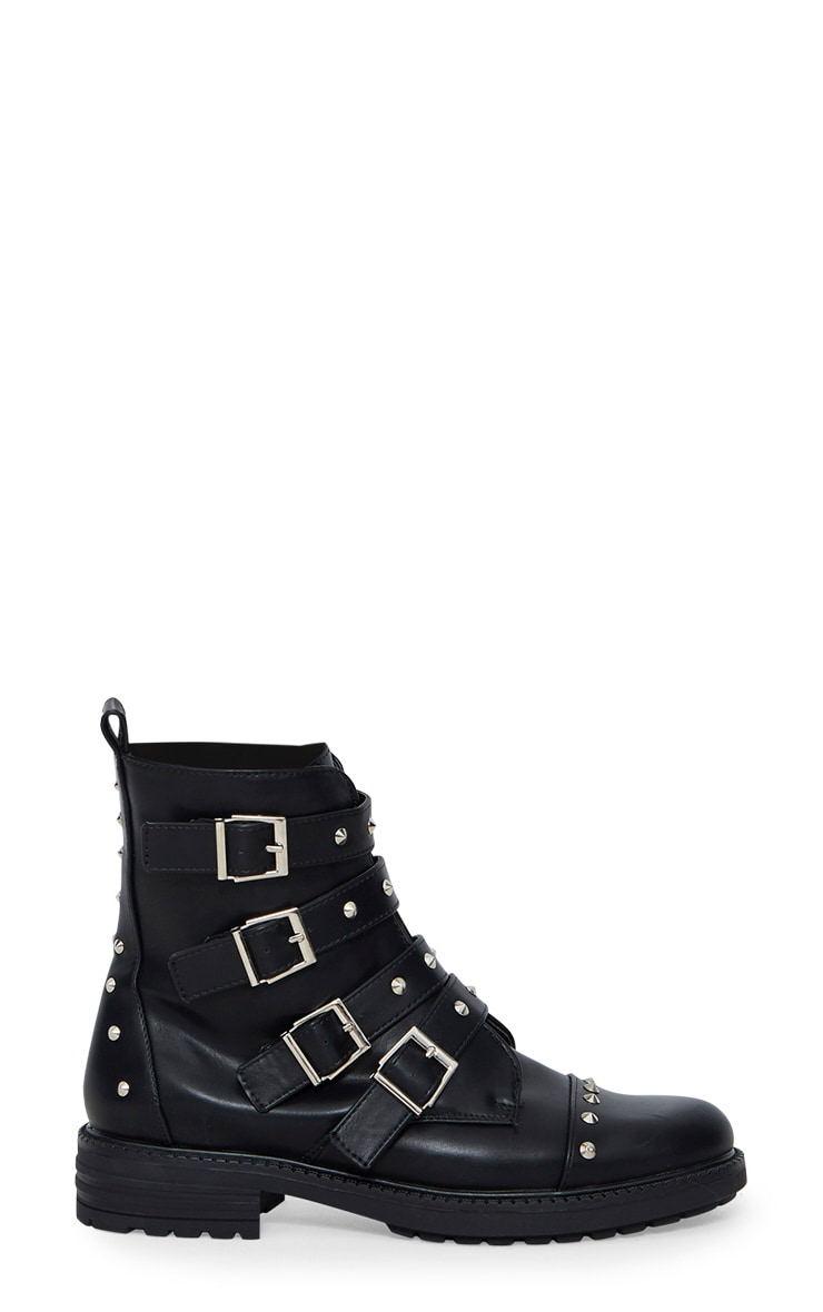 Black Studded Buckle Biker Boots 3