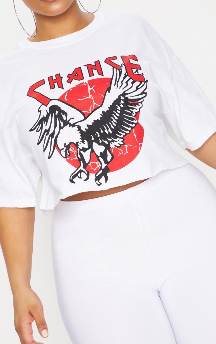 Plus White Chance Slogan Extreme Cropped T-Shirt 5