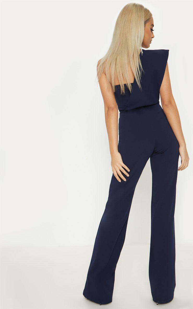 Petite Navy Drape One Shoulder Jumpsuit 2