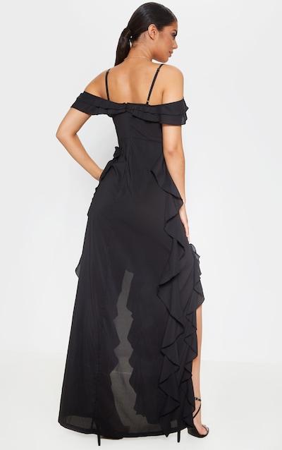Black Cold Shoulder Ruffle Detail Maxi Dress