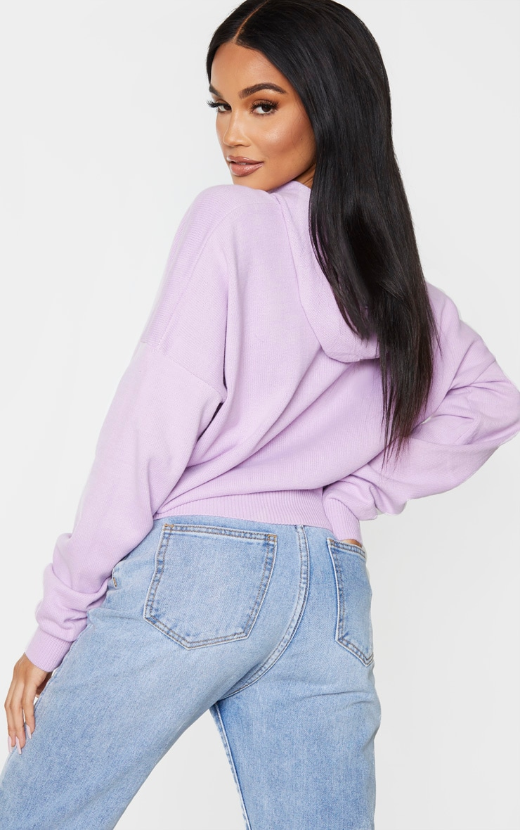 Lilac Knitted Oversized Hoodie 2