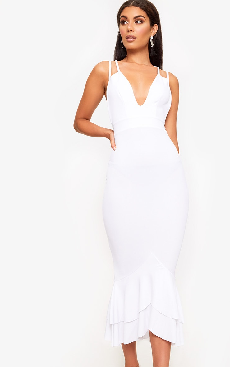 White Strappy Fishtail Midi Dress 1