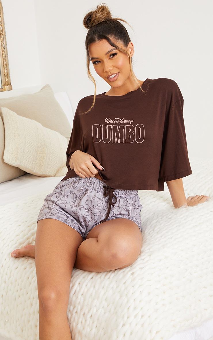 Brown Disney Dumbo T-Shirt And Shorts PJ Set 3