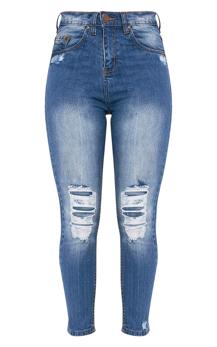 Vale jean skinny aspect vieilli délavage moyen 3