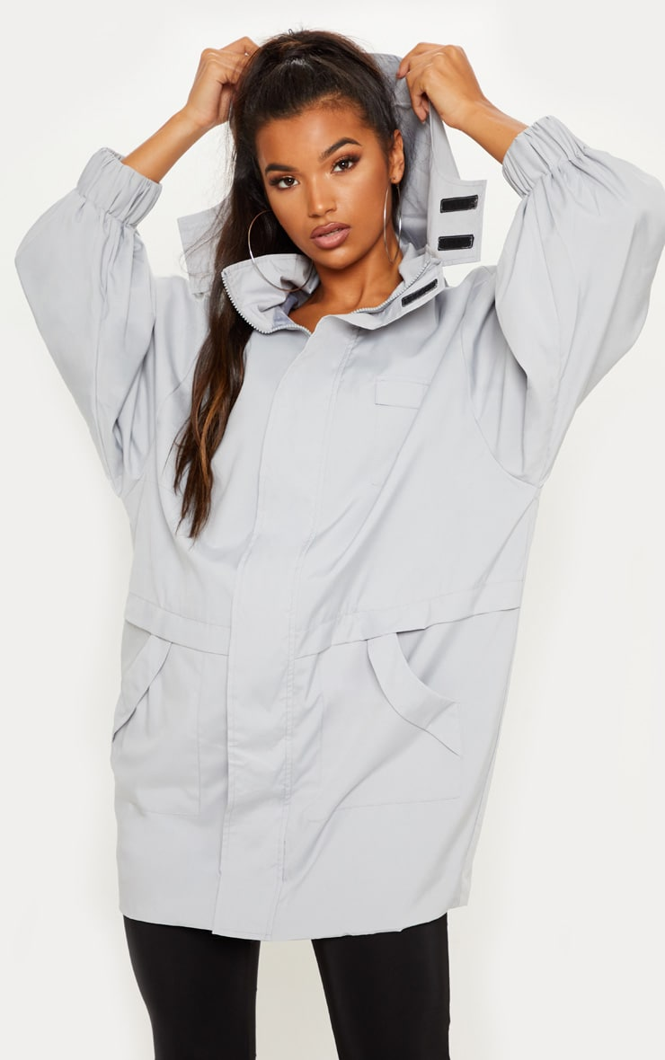 Grey Oversized Sports Mac