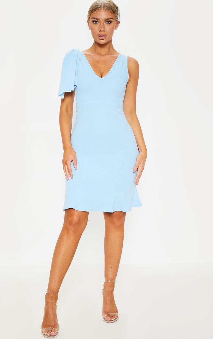 73ebe19689 Dusty Blue Pleat Detail Asymmetric Midi Dress image 1