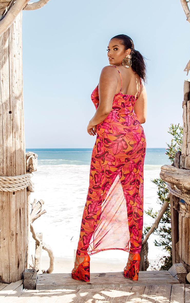 Plus Orange Palm Leaf Mesh Maxi Dress 2
