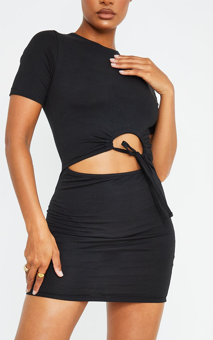 Black Cotton Ruched Cut Out Short Sleeve Bodycon Dress 4