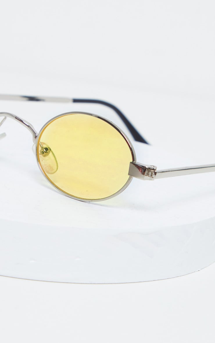 Yellow Small Squashed Round Lens Sunglasses  3