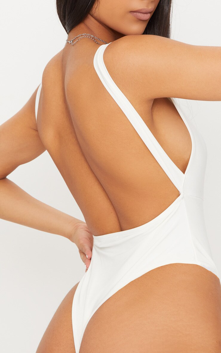 Cream Slinky Square Neck Low Back Thong Bodysuit 7