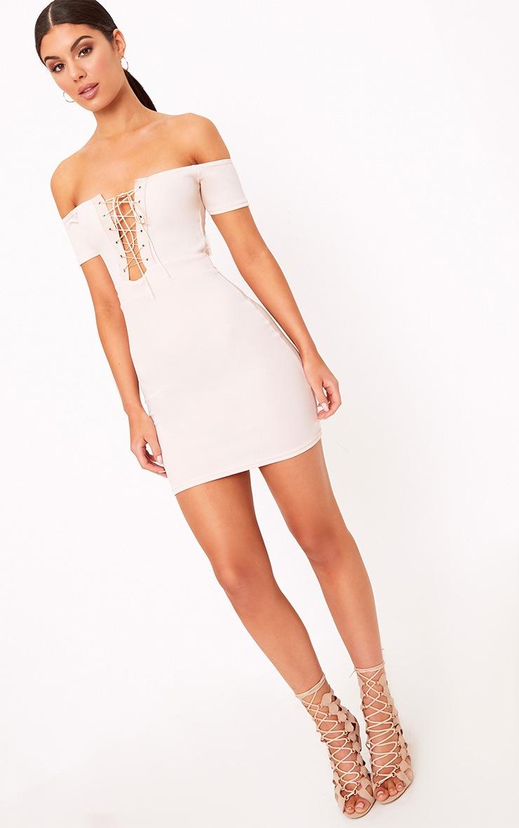 Florie Nude Bardot Corset Detail Bodycon Dress 4