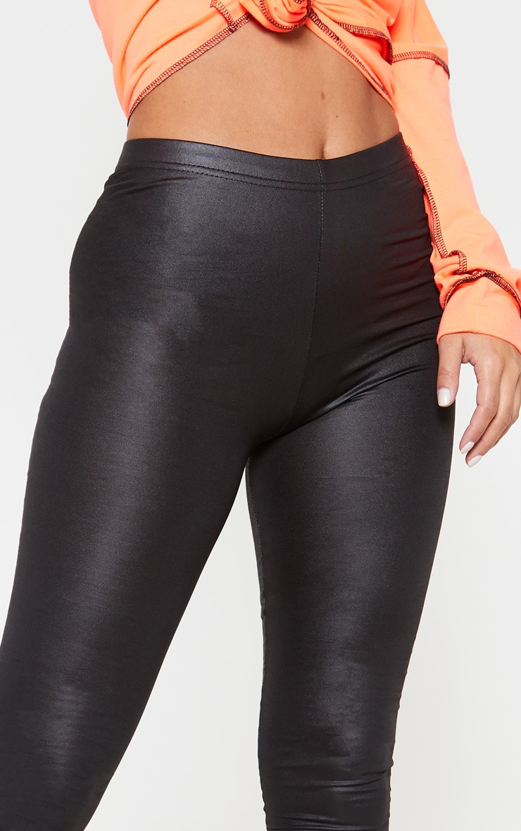 Petite Black Stretch PU Leggings 5