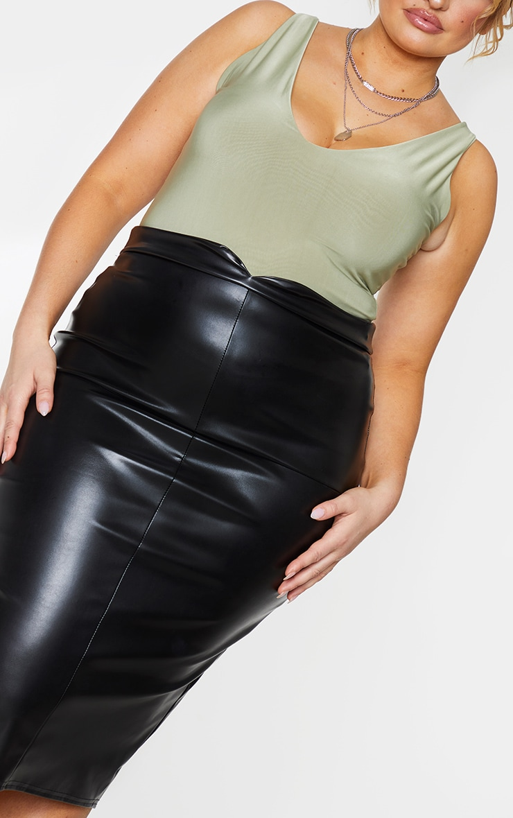 Plus Eva Black Faux Leather Panel Midi Skirt 4