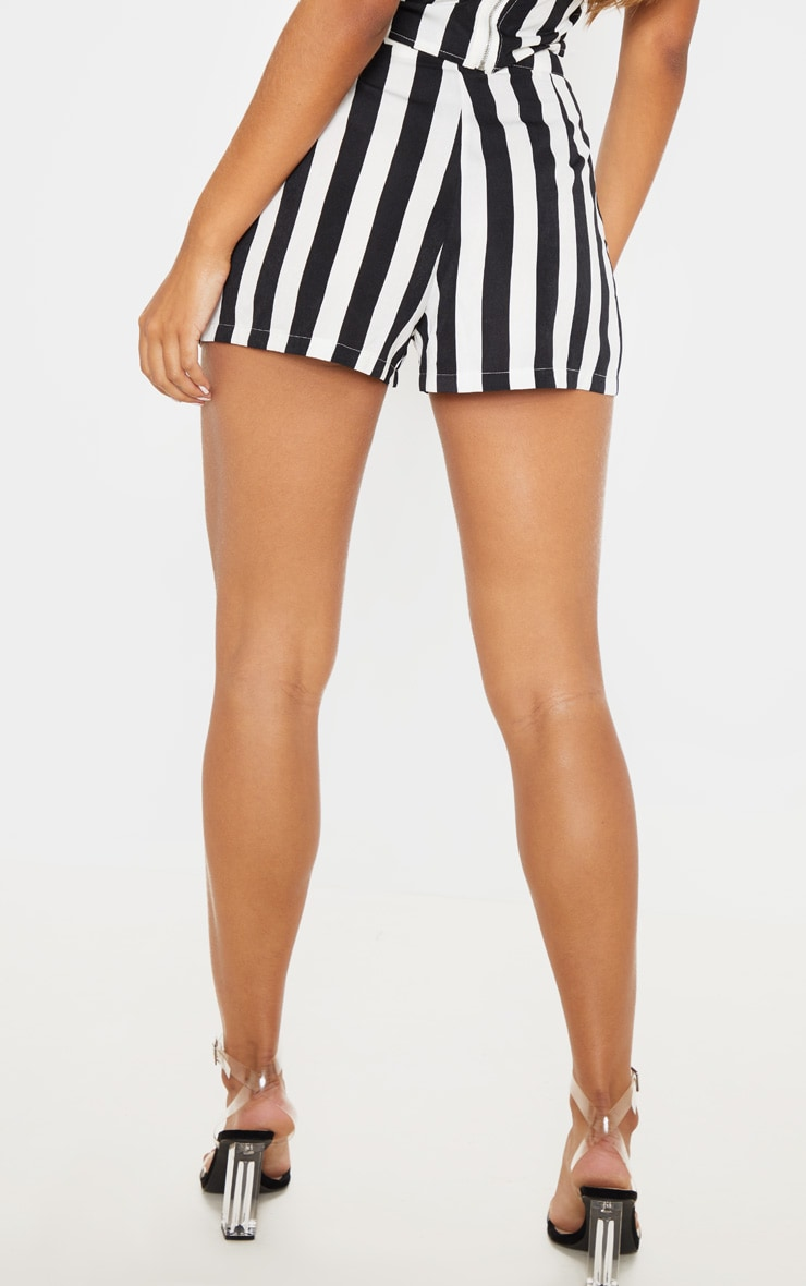 Black Stripe High Waisted Short 4