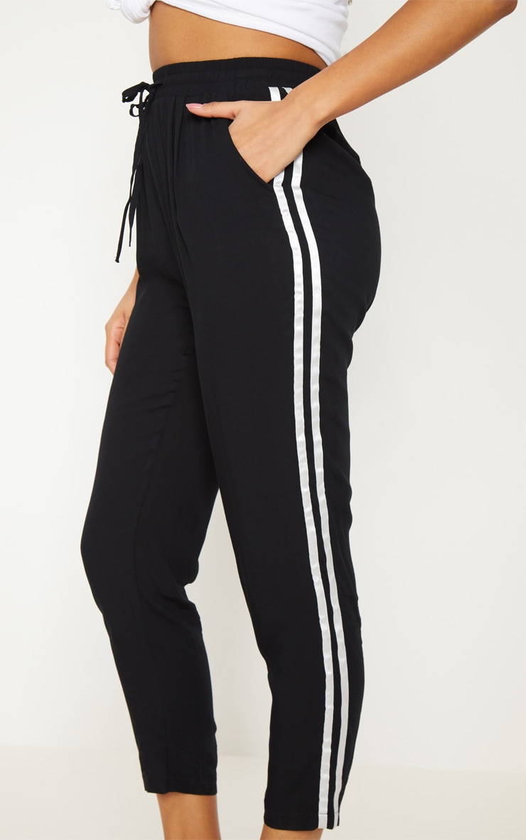 Black Double Stripe Drawstring Casual Trouser 5