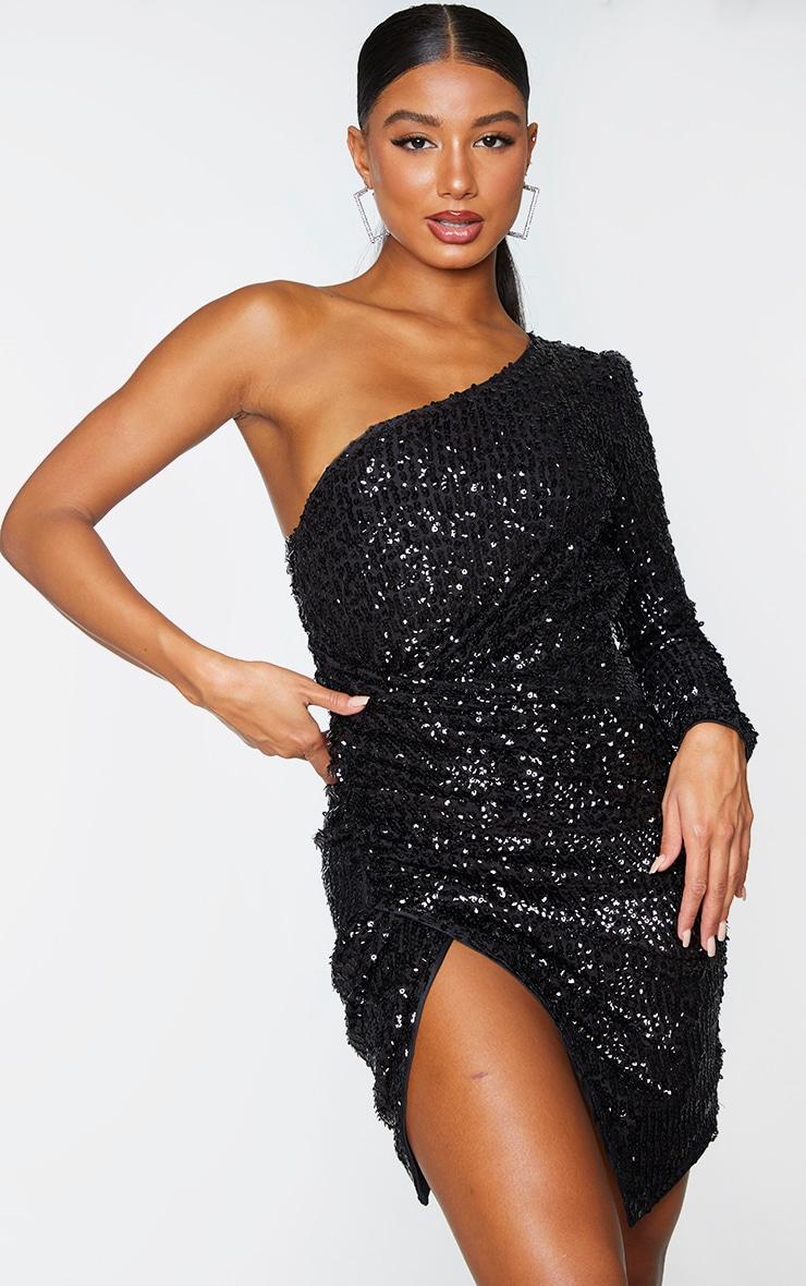 Black Sequin One Shoulder Wrap Skirt Bodycon Dress 1