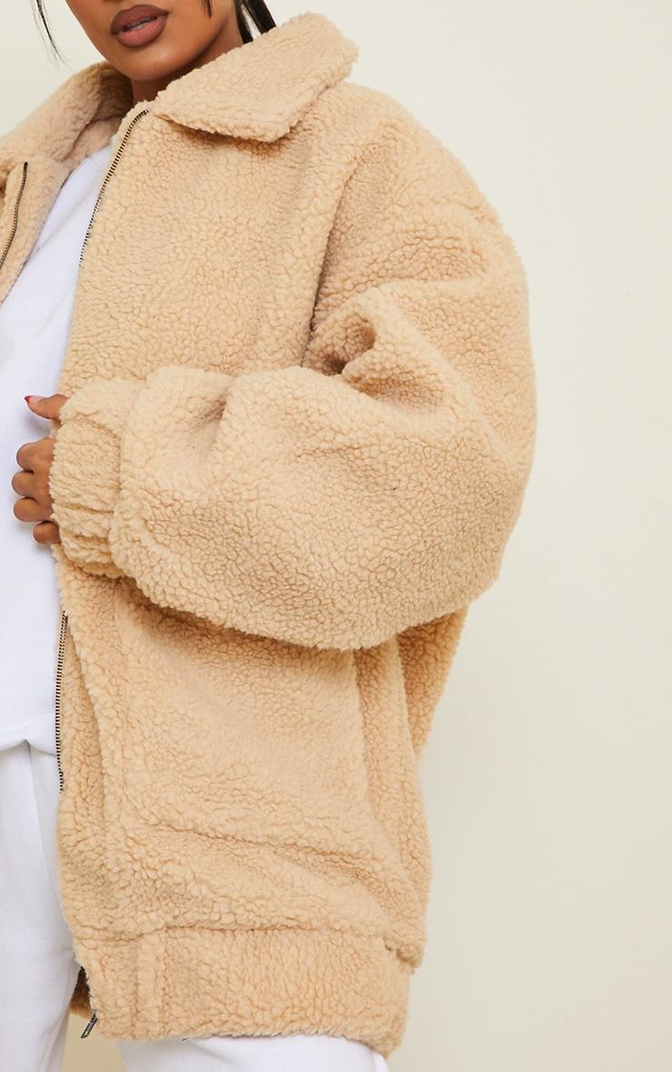 Camel Borg Pocket Front Coat  5