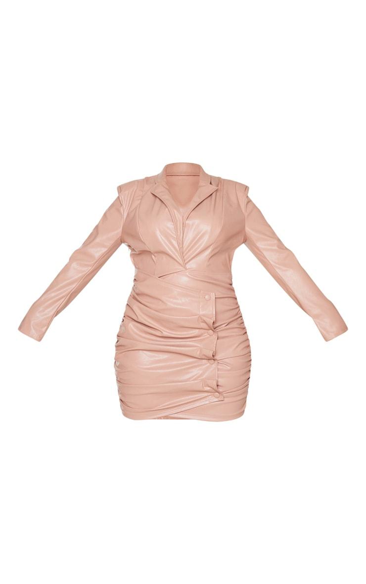Plus Nude PU Ruched Skirt Blazer Dress 5