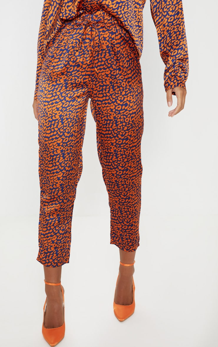 Orange Contrast Leopard Print Cigarette Trouser 2