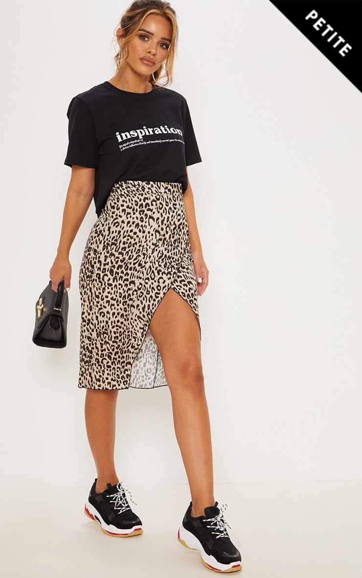 Petite Brown Leopard Wrap Pencil Skirt