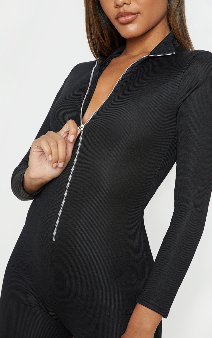 Black Fine Rib Zip Detail Unitard 5
