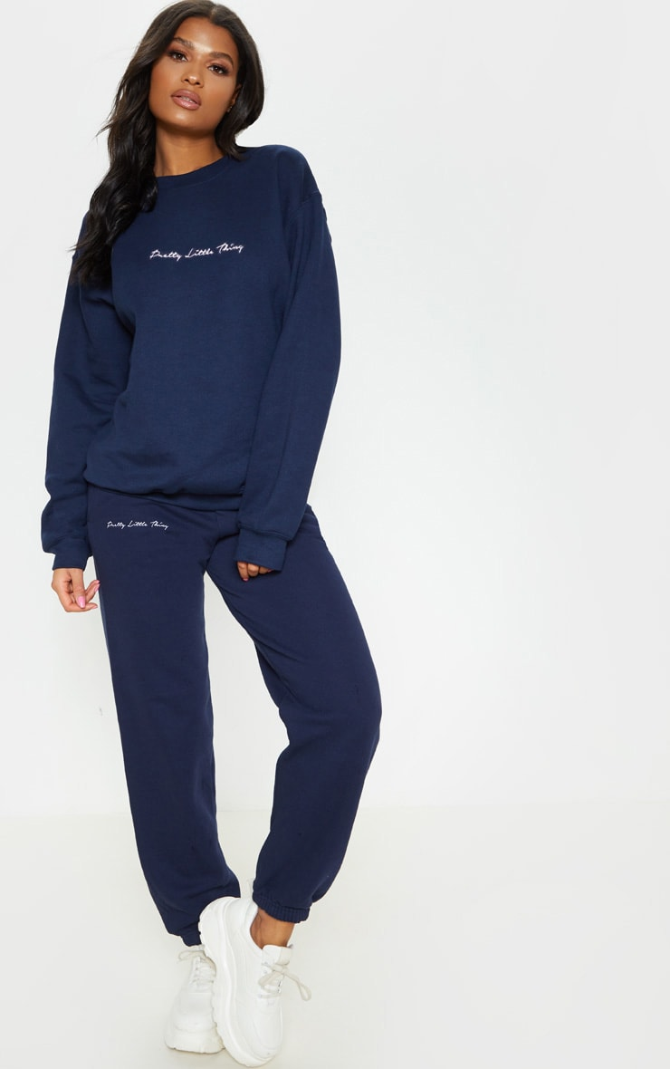 PRETTYLITTLETHING Navy Embroidered Jogger 1