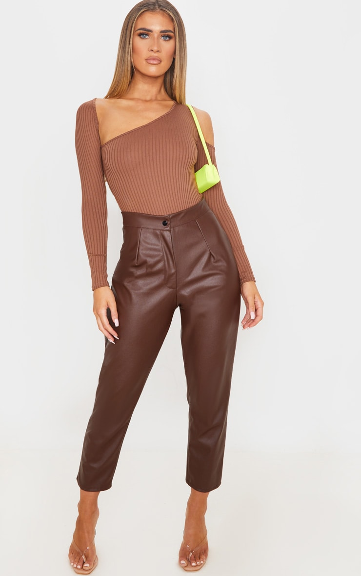 Brown Rib Cut Out Long Sleeve Bodysuit 5