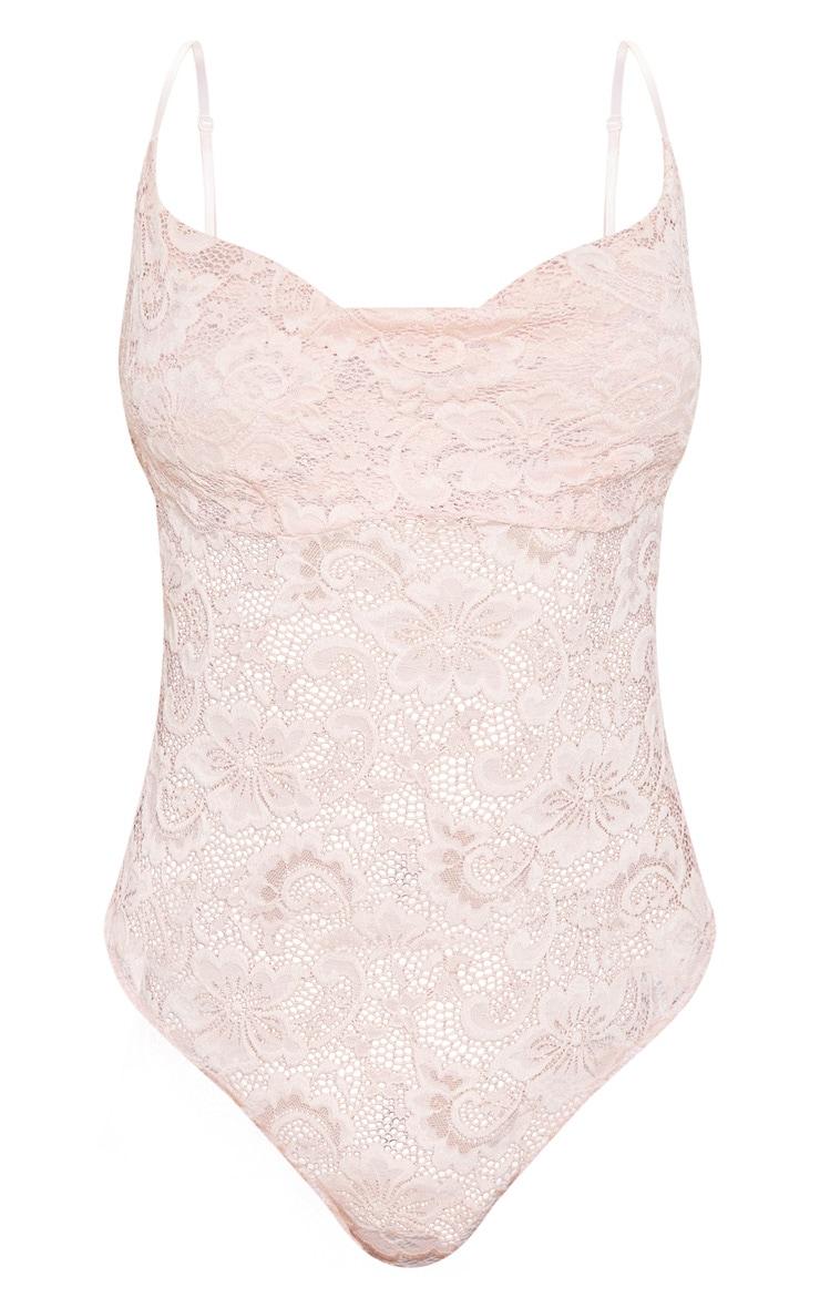 Dusty Rose Lace Cowl Neck Bodysuit  3
