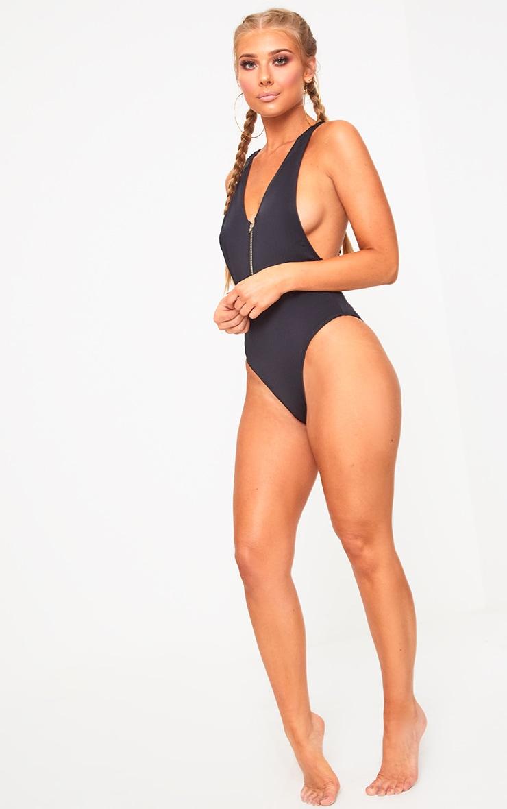 Elisha Black Zip front O ring back Strap Swimsuit  5