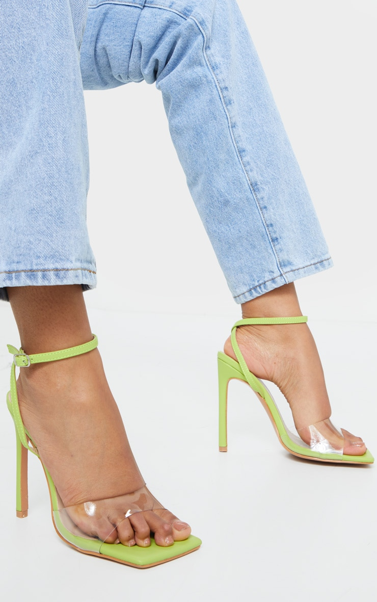 Lime Extreme Square Toe Clear Strap High Heel 2