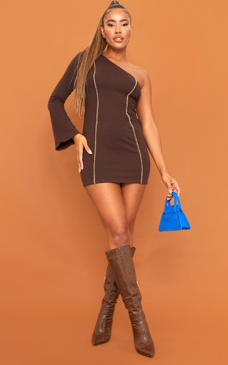 Chocolate Asymmetric Binding One Shoulder Bodycon Dress 1