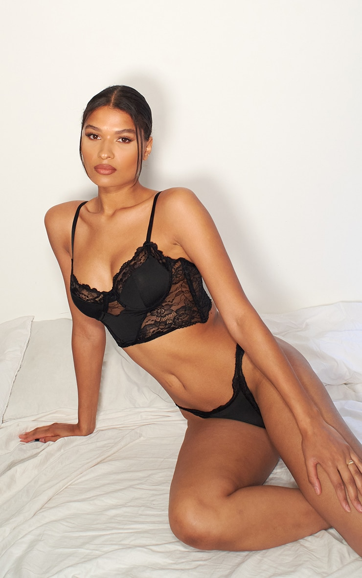Black Lace Underwired Bralet And Thong Lingerie Set 3