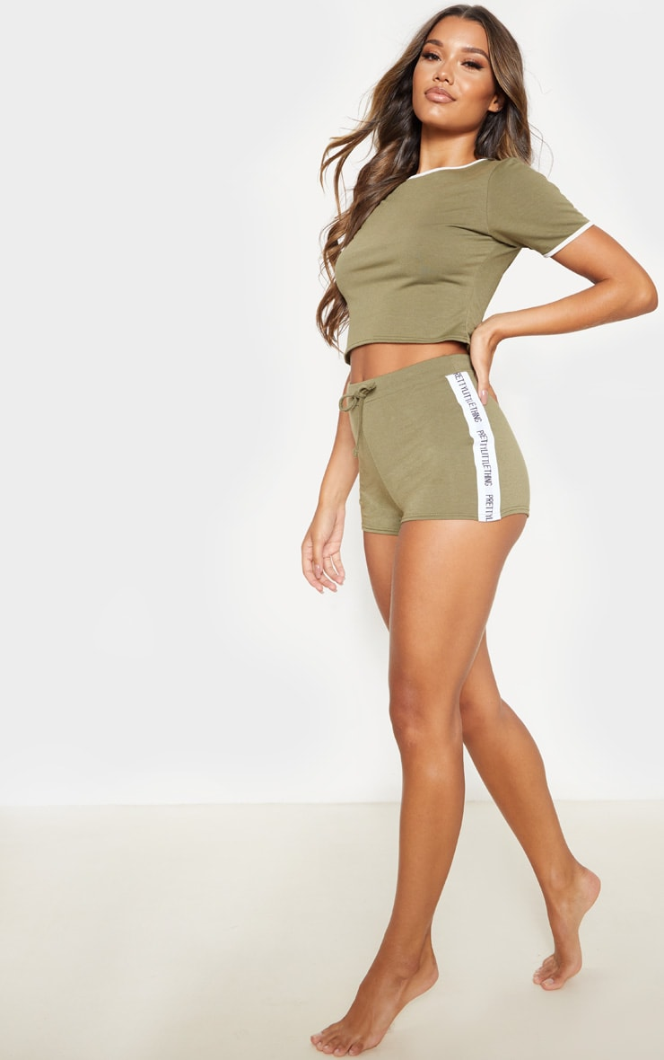 PRETTYLITTLETHING Khaki PJ Short Set 4