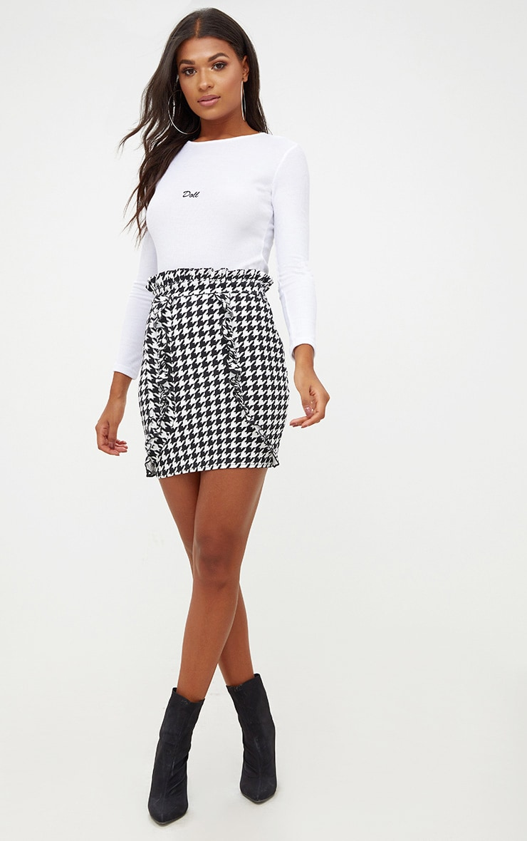 Black Dogtooth Paperbag Frill Mini Skirt 5