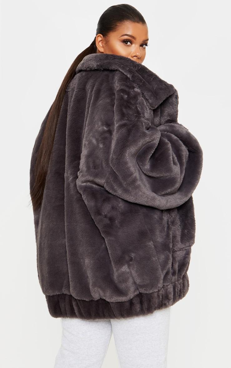Plus Grey Faux Fur Pocket Front Coat 2