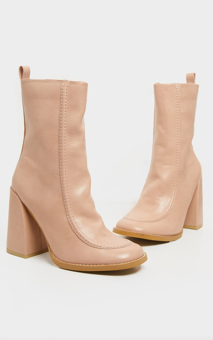 Nude Curved Toe Block Heel Ankle Boot 2
