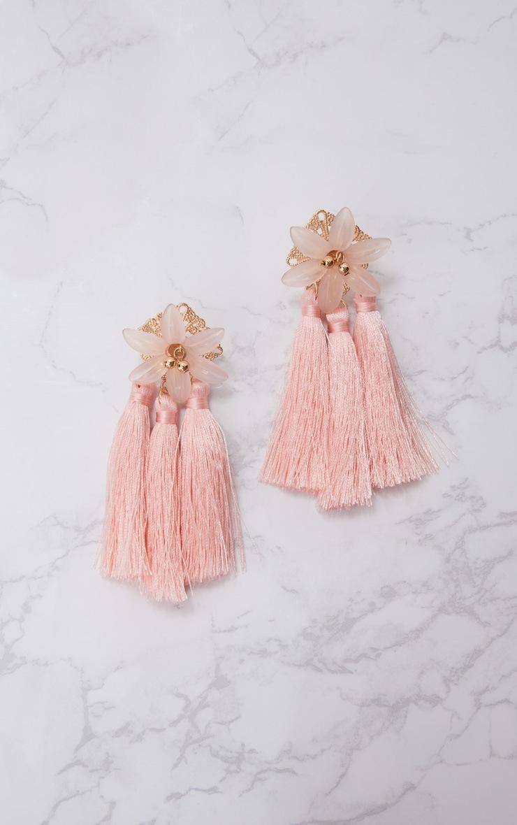 Baby Pink Floral Tassel Earrings 2