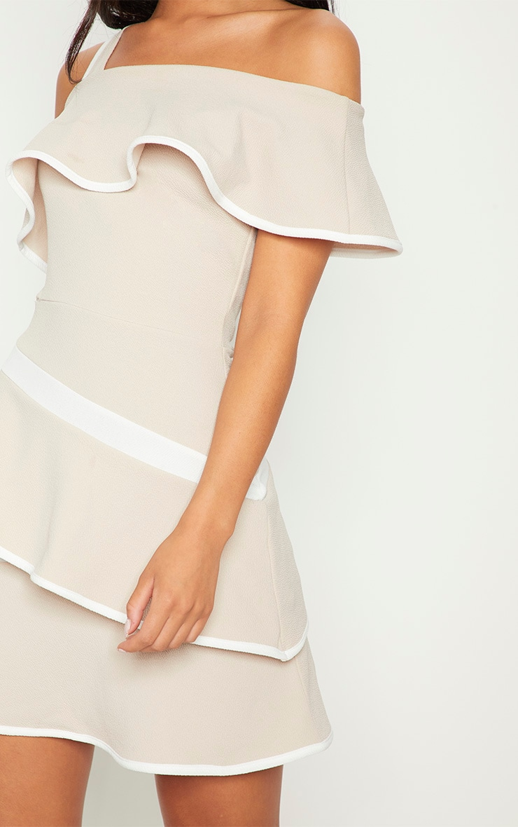 Stone Binding Detail One Shoulder Tiered Skater Dress 5