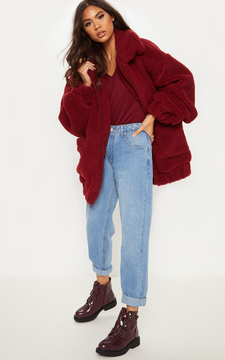 Burgundy Oversized Borg Pocket Front Coat  1
