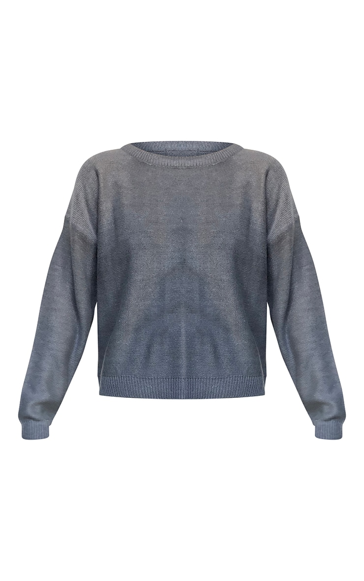 Grey Soft Touch Knitted Crew Neck Sweater 5