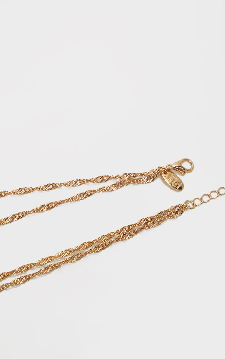 Gold Twist Chain Double Cross Layering Necklace 4